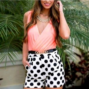 NEW WITH TAGS Neon Pink Polka Dot Romper Playsuit